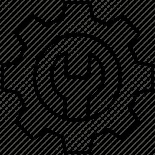 cog, cogwheel, maintenance, settings, spanner icon