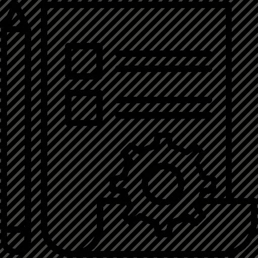 checklist, cogwheel, list, preferences, prototyping icon