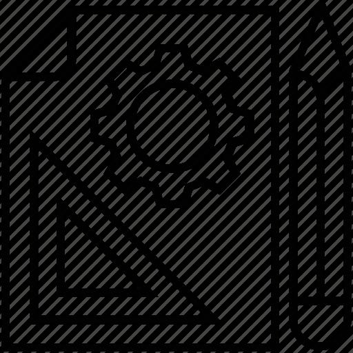 cog, file, pencil, preferences, prototyping icon