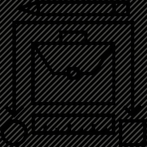pencil, portfolio, project line, ruler, scale icon