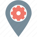 cog, gps, location pin, location setting, map setting icon