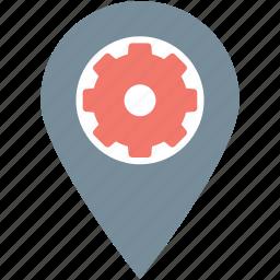 cog, gps, location pin, location setting, map setting icon