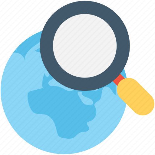globe, magnifier, magnifying, search location, world map icon