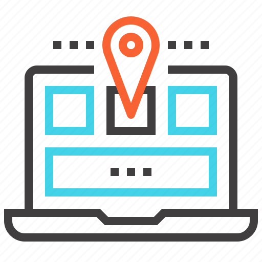 address, laptop, location, map, marker, navigation, web icon