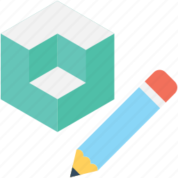 cubes, designing, drafting, geometry, pencil icon
