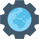 cog, geography, globe, world map, worldwide icon