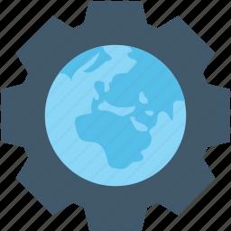 cog, geography, globe, world map, worldwide icon