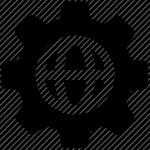 development, gear, globe, globe gear, internet, network, world in gear icon