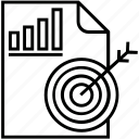 bar, bullseye, graph, strategy, target icon