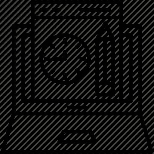 development, laptop, pencil, timer, web design icon