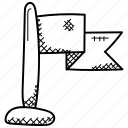 ensign, flag, flag pole, fluttering flag, location flag