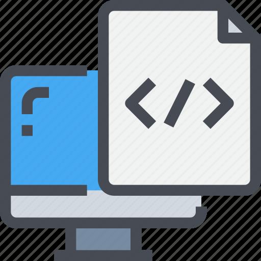 code, coding, develop, development, file, paper, programming icon