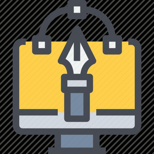 computer, creative, design, graphic, idea, pen icon