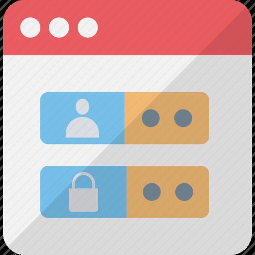 online account, user login, web login screen, web ui icon
