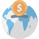 global currency, global investment, international finance, online banking icon