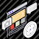 graphic designing, interface design, web coding, web design, web development icon