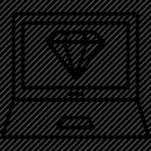 clean code, development, diamond, gem, product icon