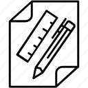 pencil, drafting, design, file, ruler icon