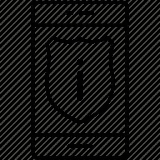 error, information, mobile, shield, smartphone icon