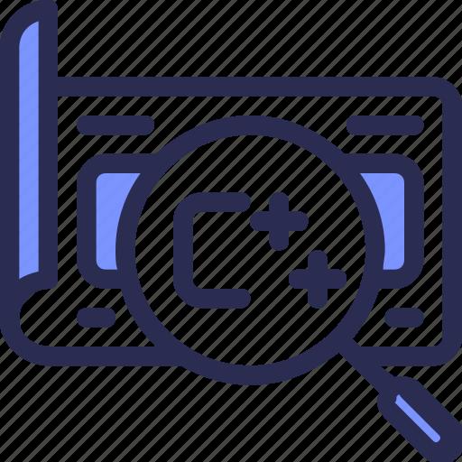 c, coding, design, development, find, script, search icon