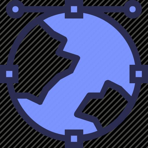 anchore, design, development, earth, globe, line, world icon