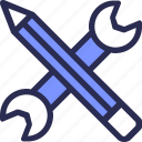 design, development, pencil, setting, tool, wrench icon