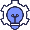 bulb, cog, creative, development, idea, setting, think icon