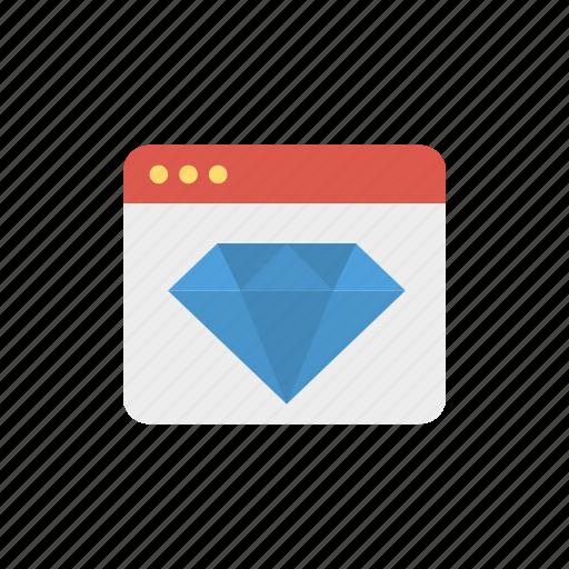 diamond, page, performance, quality, web icon