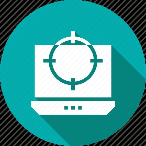 aim, crosshair, goal, laptop, target icon
