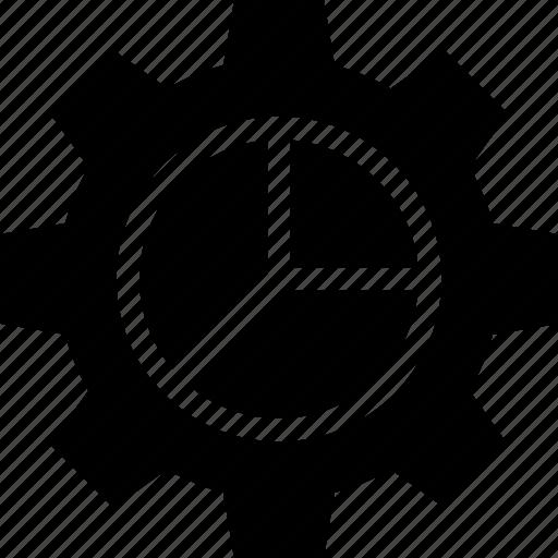 analytics, chart, cog, gear, graph, pie icon
