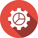 analytics, chart, cog, gear, graph, pie icon