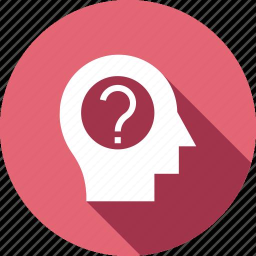 brain, brainstorming, education, faq, frustration, question icon