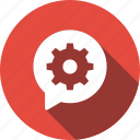 bubble, chat, configuration, gear, message, settings icon