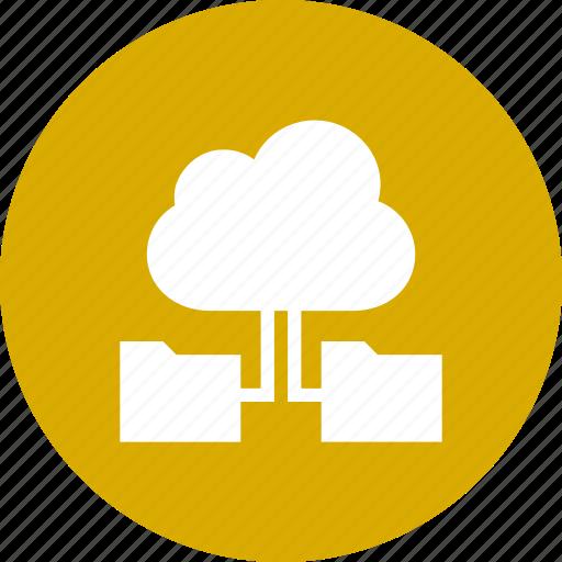 cloud, computing, data, folders, storage, with icon