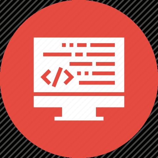 code, coding, developer, development, editor, html, monitor icon