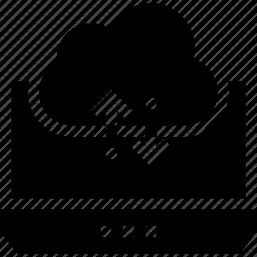 cloud, data, database, download, guardar, laptop, save, storage icon