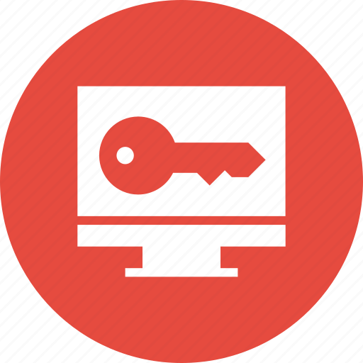 computer, desktop, key, monitor, password icon