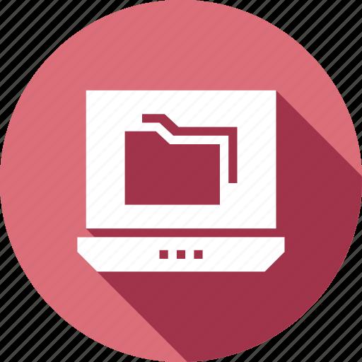 computer, data, file, folder, laptop icon