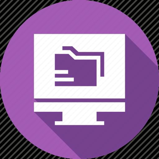 computer, directory, electronics, folder, monitor icon