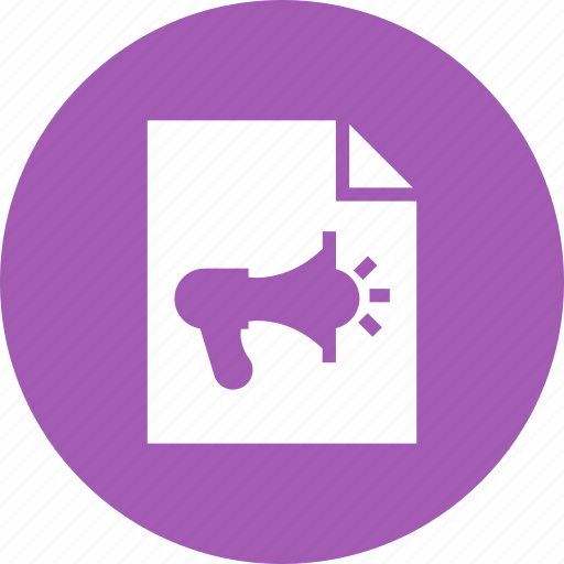 announcement, document, extension, file, format, paper icon