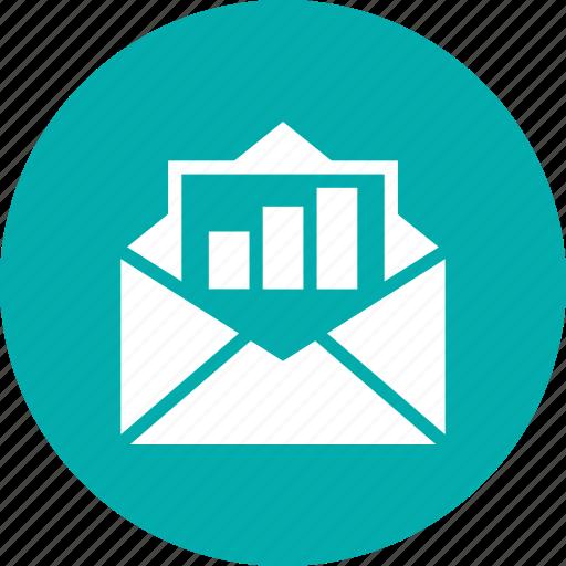 envelop, graph, line, seo icon