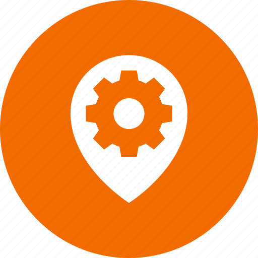 gear, geo, location, preferences, targeting icon