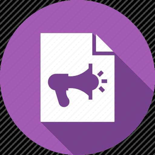 announcement, document, extension, file, format, paper icon