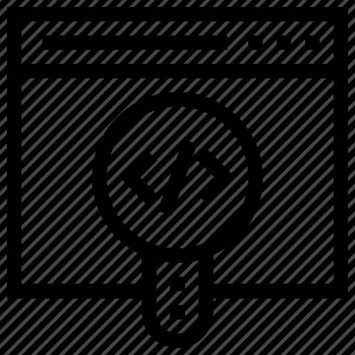 code, internet, magnifier, marketing, search, seo, web icon icon