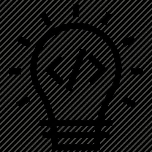 bulb, code, coding, idea, light, program, programming icon icon
