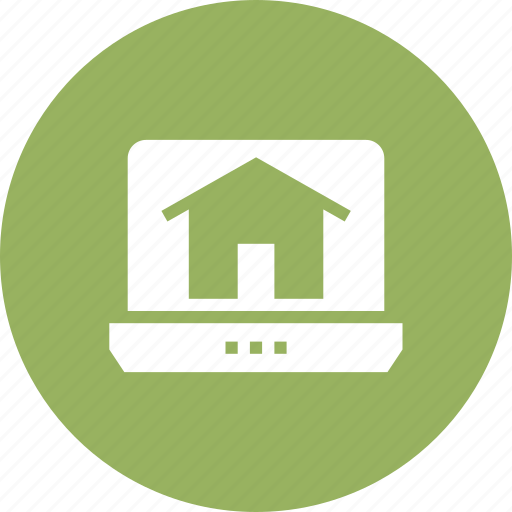 estate, home, house, laptop, online, real icon