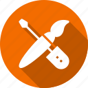 brush, maintenance, services, setting, support, tools, wrench icon