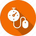 click, measure, mouse, speed, stopwatch, time, timepiece icon