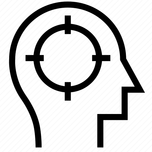 aim, brain, business, focus, mind, productivity, target icon icon