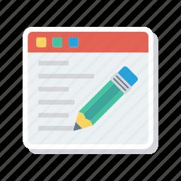 browser, edit, webpage, write icon